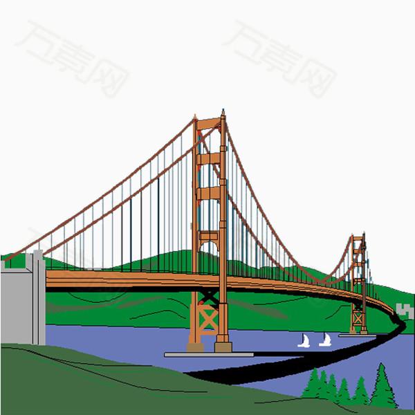 卡通斜拉桥图片免费下载_卡通手绘_万素网