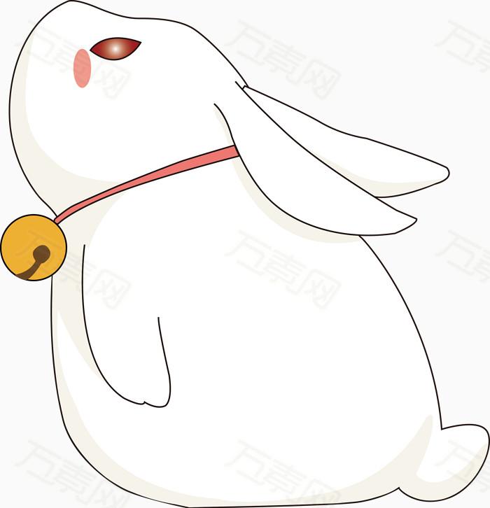 卡通仰望的小兔子矢量图