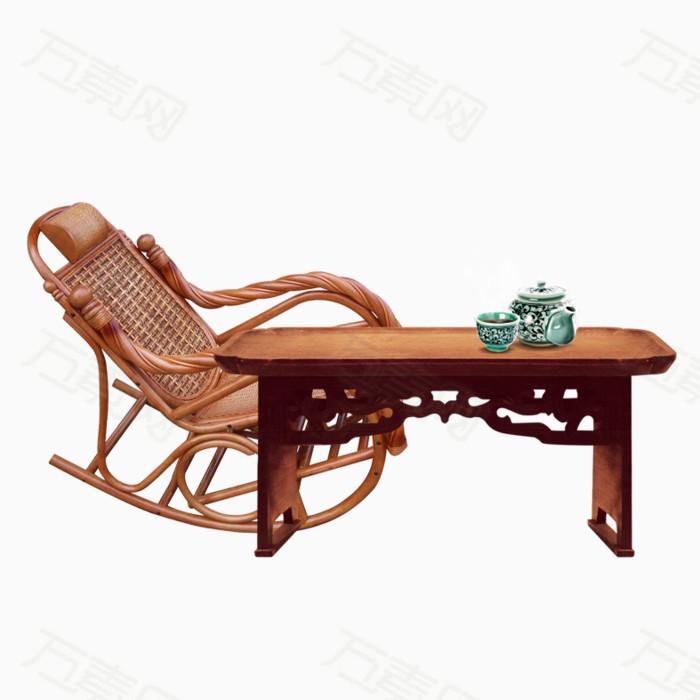藤椅家具组合实木桌子绿色茶具手绘桌子