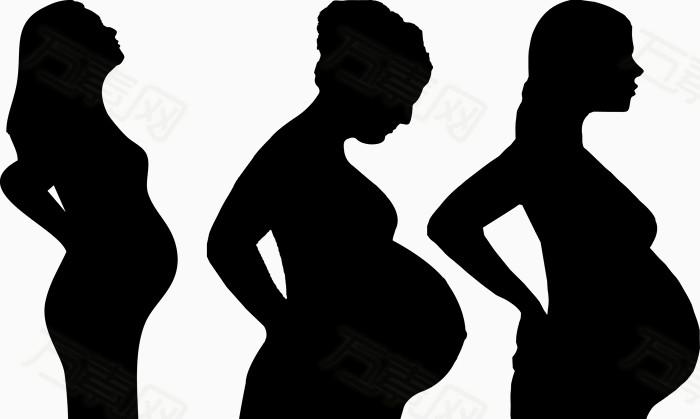 万素网 素材分类 3个孕妇剪影矢量图  1682