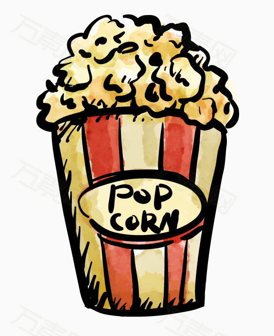卡通小桶爆米花 爆米花卡通素材 满桶爆米花 卡通爆米花素材