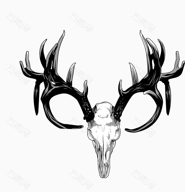 黑白色细腻手绘鹿头_卡通手绘_753*781px_编号289336