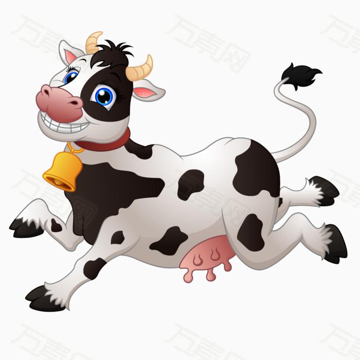 奶牛 牛 动物 奔跑 卡通 手绘 可爱 俏皮