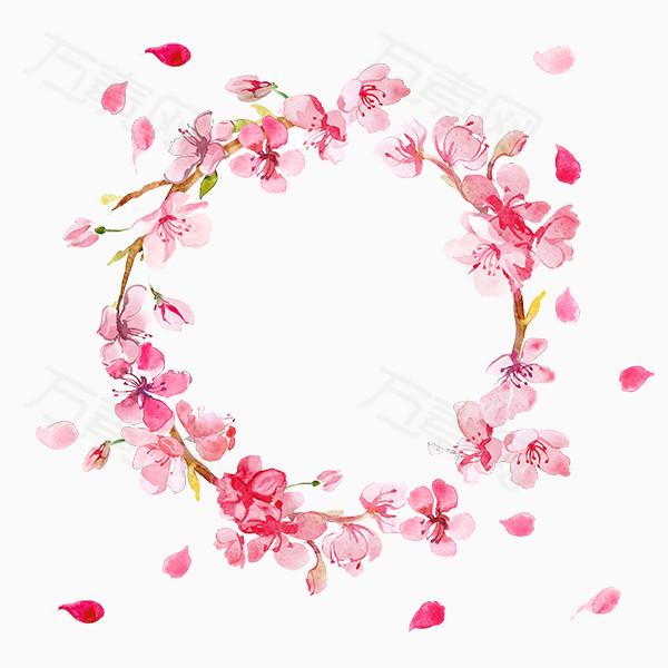 花卉 植物 圆形 灰色花朵                 万素网提供手绘花环png