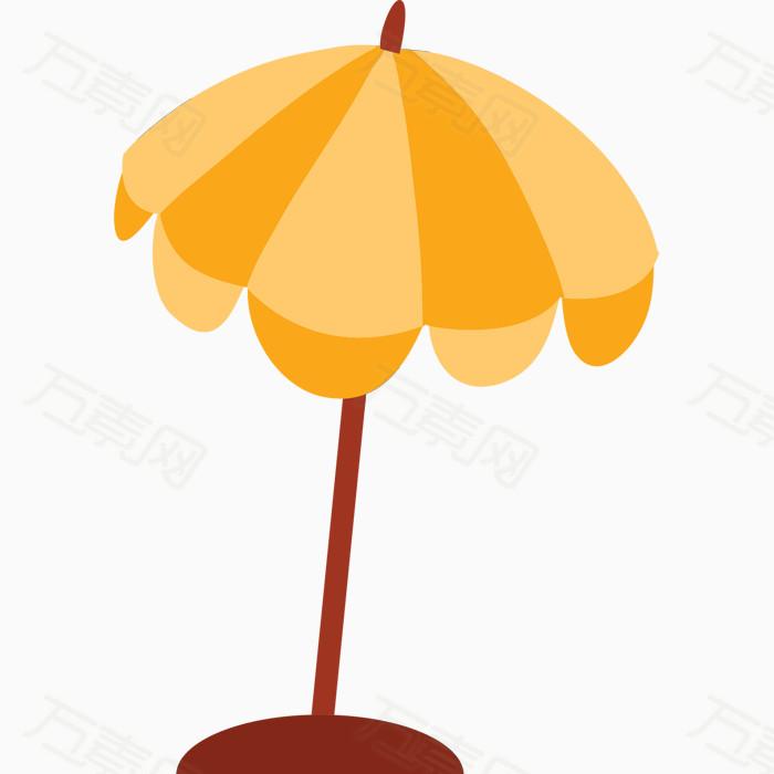 卡通手绘黄色的太阳伞