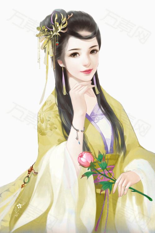 中国风古代美女妃子笑图片免费下载_卡通手绘_万素网