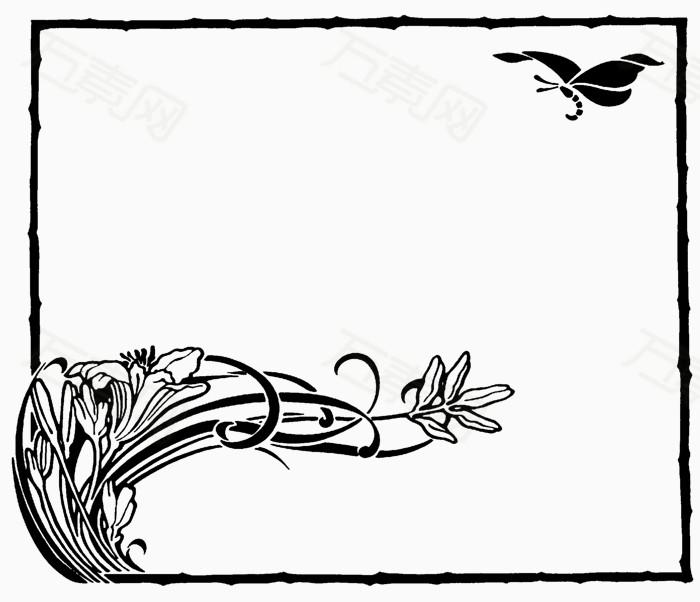 淡雅花卉边框