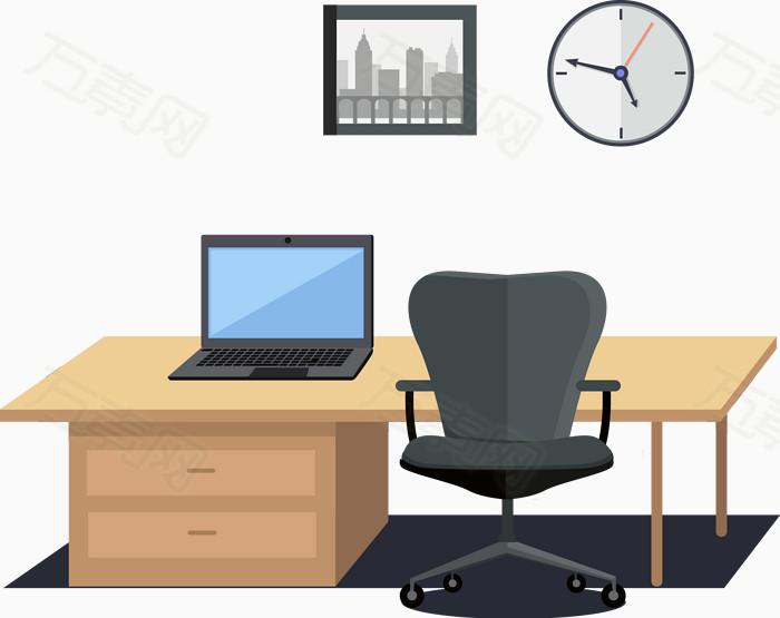 矢量办公室素材办公桌商务