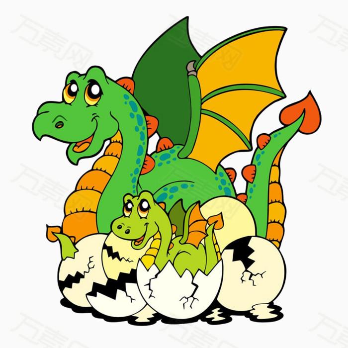 大恐龙和小恐龙图片免费下载_卡通手绘_万素网