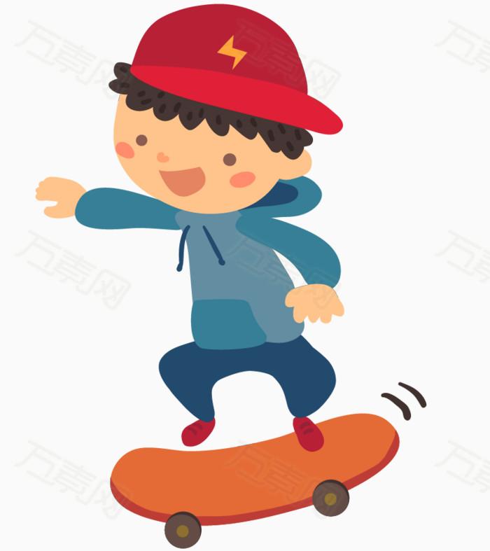 卡通手绘玩滑板戴帽子的男孩插画