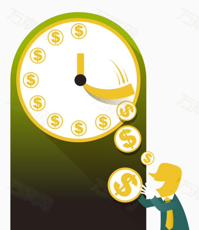 时间金钱扁平化素材图片免费下载_ppt元素_万素网