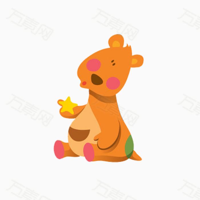 坐在地上可爱的小袋鼠