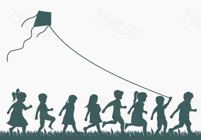 万素网 素材分类 放风筝的小孩