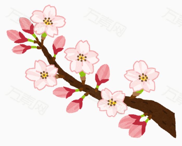 手绘花枝 桃花 粉色花朵图片免费下载_卡通手绘_万素网