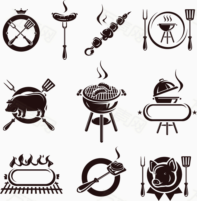 万素网提供黑白手绘烧烤元素png设计素材,背景素材