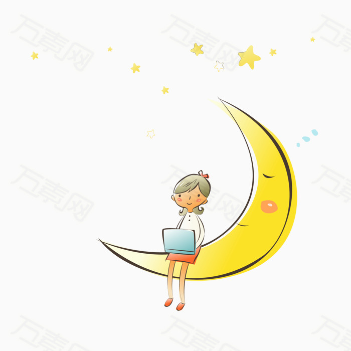 卡通女孩月亮星星插画图图片免费下载_装饰元素_万素网