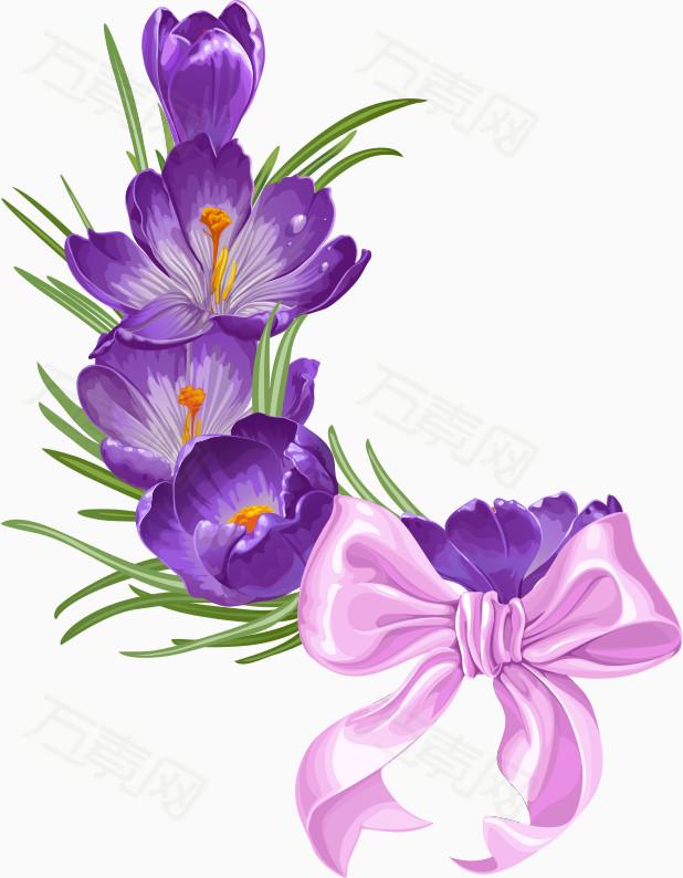 粉色   装饰紫色小花 背景装饰 卡通手绘蝴蝶图片