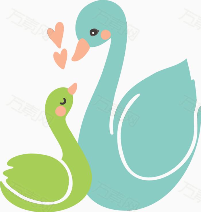 卡通手绘天鹅母子图片免费下载_卡通手绘_万素网