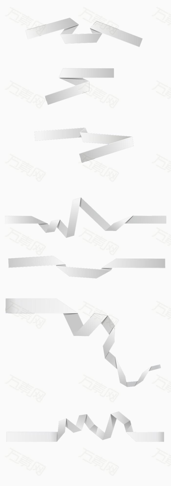 7款白色折纸丝带设计矢量素材