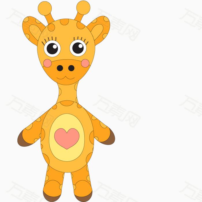 长颈鹿 彩色 爱心 手绘 动物 免扣png素材