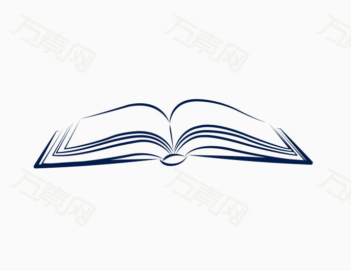 书本 手绘 简笔画 蓝色 线条 卡通 插画 漫画