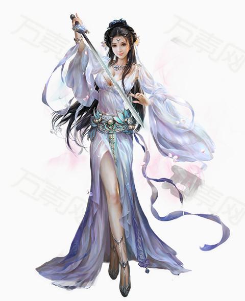 人物,古装,女人,女性玩家,游戏人物形象设计,白色飘逸,唯美装扮