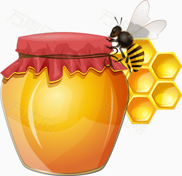 卡通蜂蜜罐子蜜蜂图片免费下载_卡通手绘_万素网