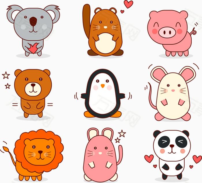 可爱动物图片免费下载_卡通手绘_万素网