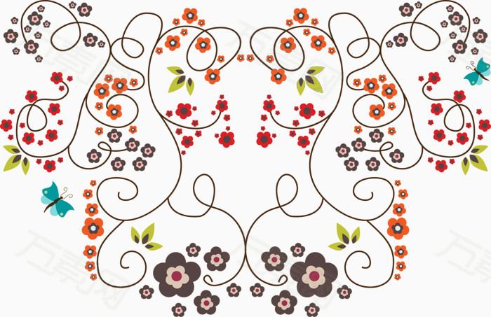 红色手绘线条花朵图片免费下载_花卉植物_万素网