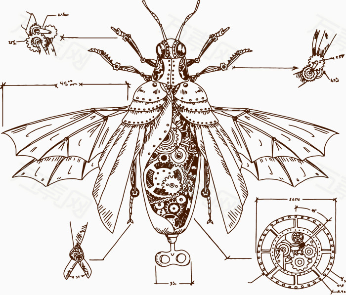 矢量手绘机械昆虫