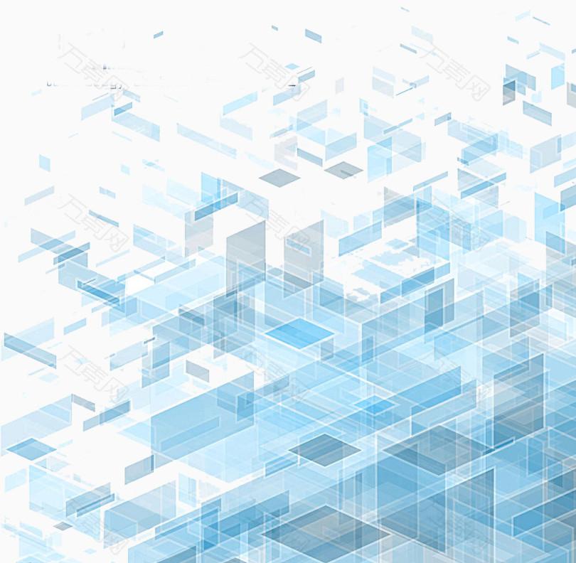 蓝色透明立体方块科技背景图