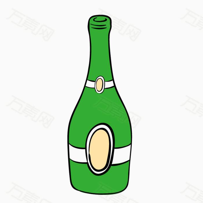 卡通 手绘 插画 装饰  png 元素 瓶子 绿色 玻璃瓶 酒瓶