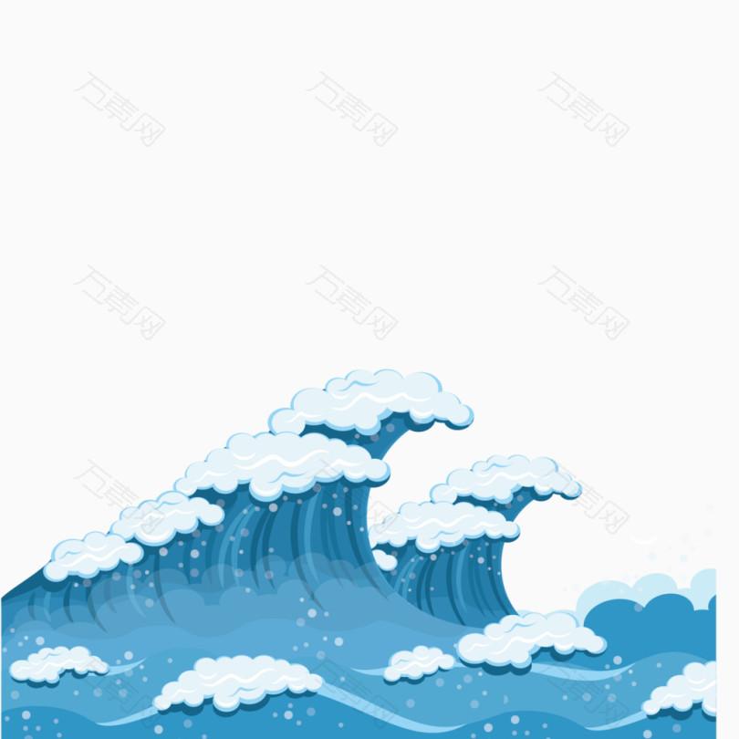 矢量蓝色海洋浪花装饰素材