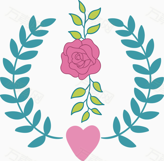 稻麦玫瑰花叶子心形水彩手绘装饰元素