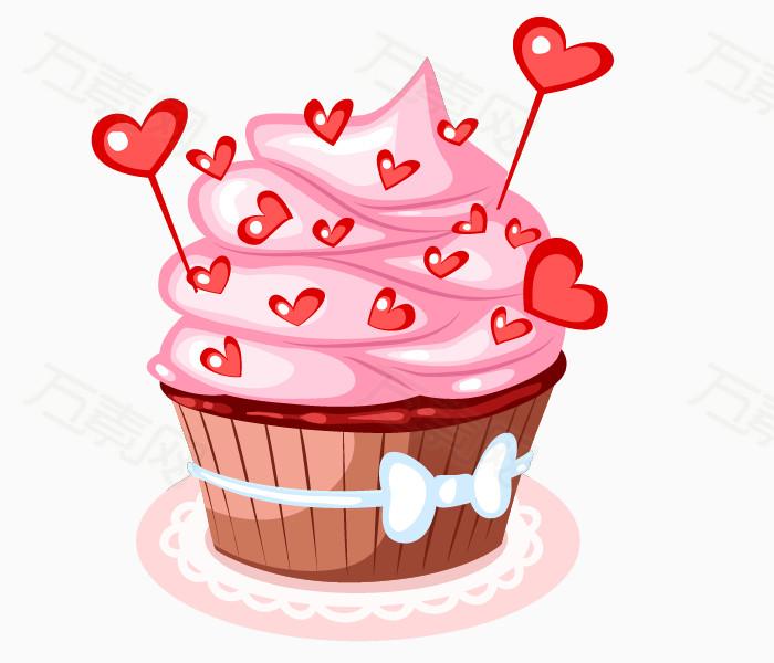卡通手绘粉色心形纸杯蛋糕图片