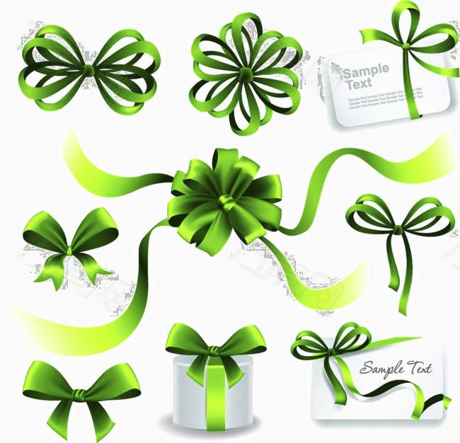 绿丝带礼盒矢量素材