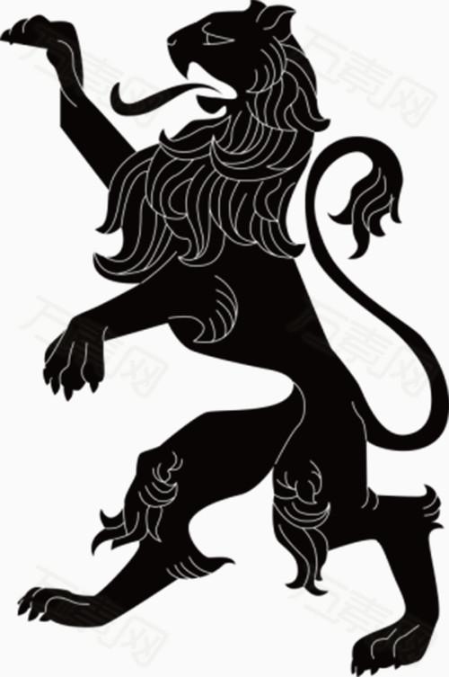 黑白单色狮子手绘