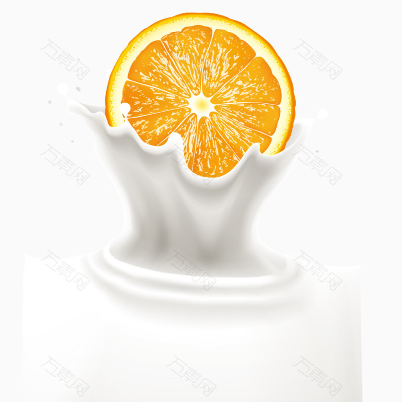 橙子和喷溅牛奶矢量