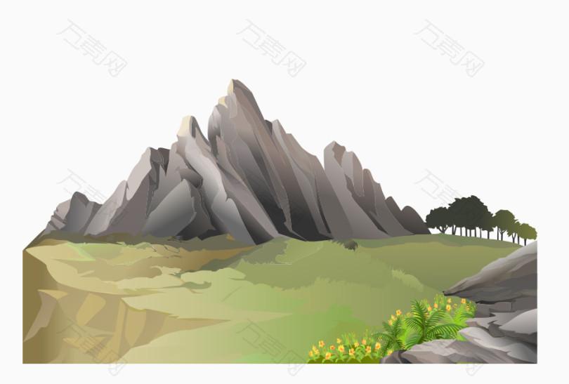 风景山水png免费素材矢量_装饰元素_929*627px_编号