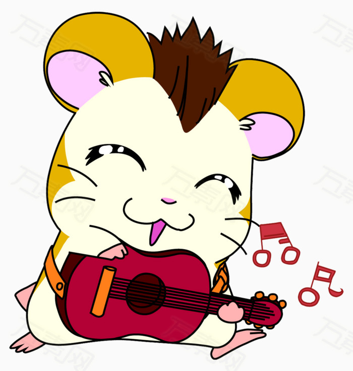 卡通手绘老鼠弹吉他