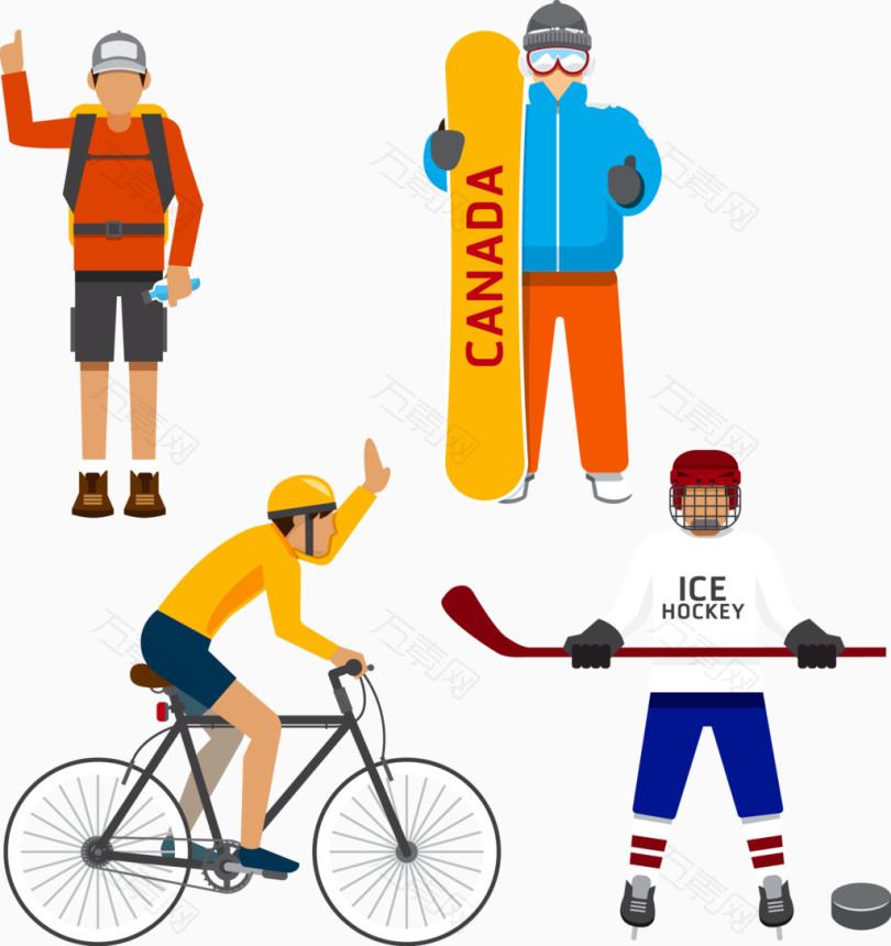 矢量卡通人物素材自行车运动滑雪