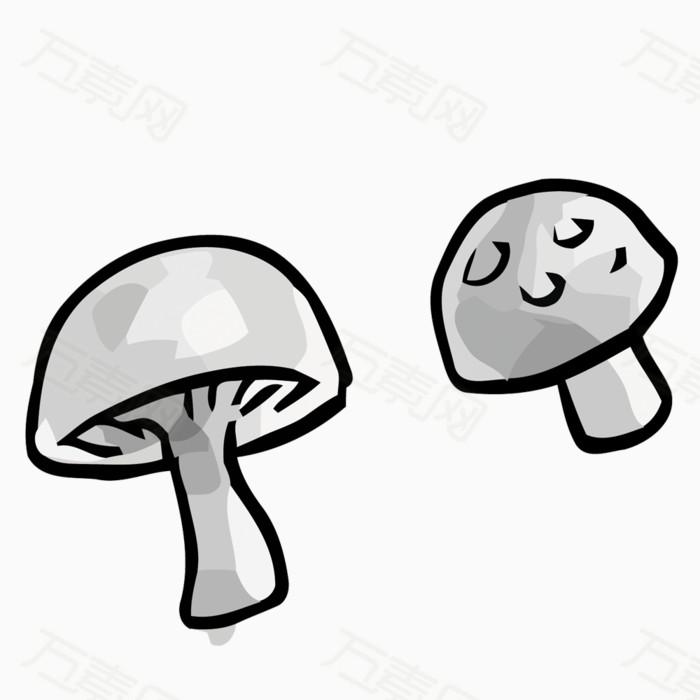 矢量灰色蘑菇素材