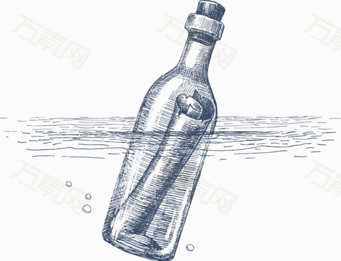 手绘线稿漂流瓶装饰画