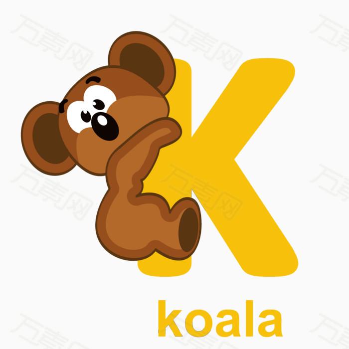 看图识字 字母 动物字母 动物 卡通字母 字母k
