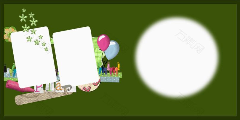 万素网 免抠元素 边框纹理 绿色卡通背景照片边框模板  图片素材详细