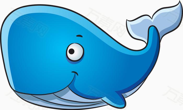 卡通动物 手绘鱼类 蓝色鲸鱼 可爱鲸鱼 海底动