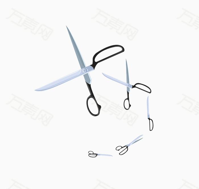 万素网 素材分类 矢量灰色日常工具剪刀五把