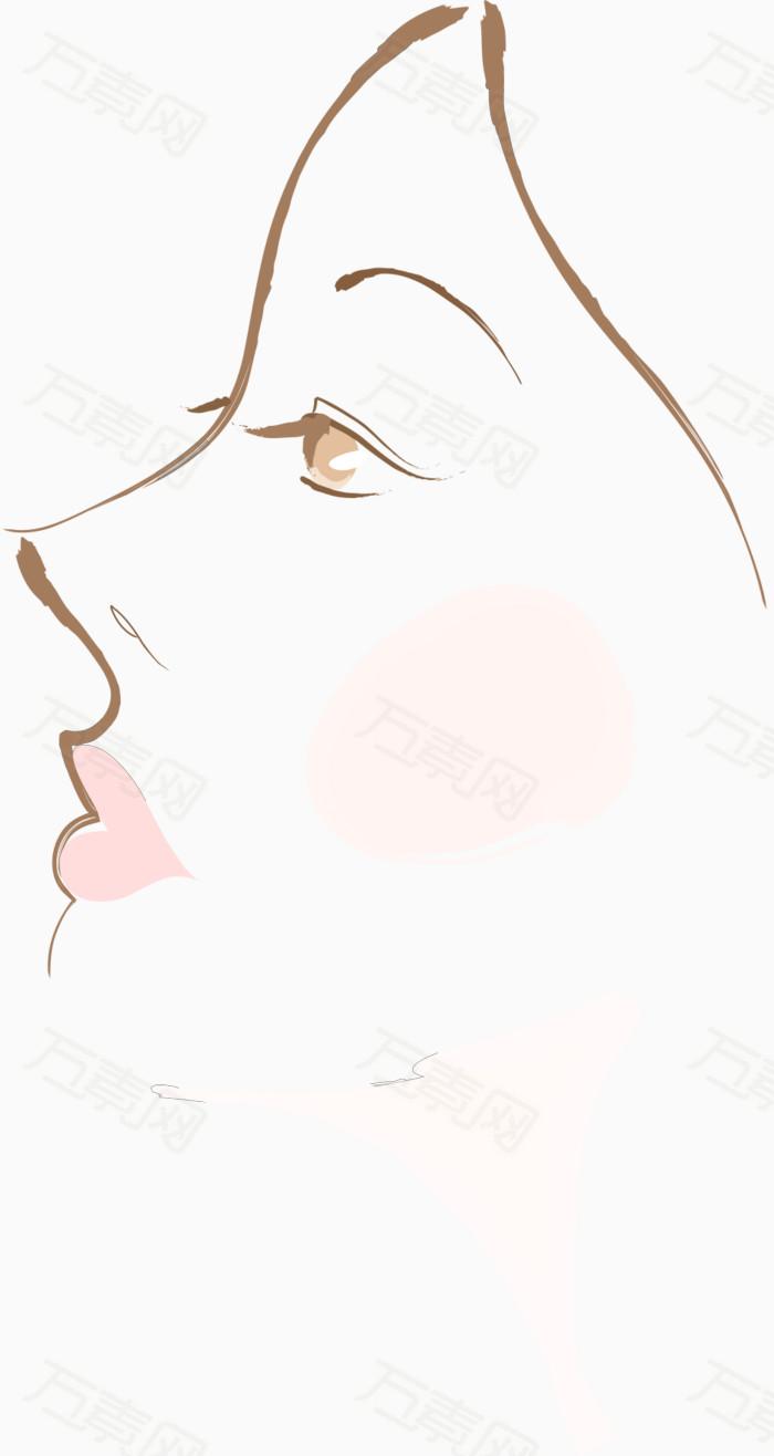 手绘美女侧脸