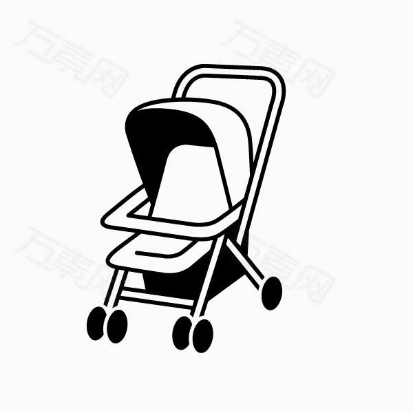 万素网 素材分类 卡通手绘 婴儿车  14424