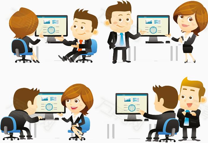 办公室商务人士卡通形象免抠素材图片